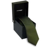 Keskeny, olívazöld nyakkendő díszdobozban