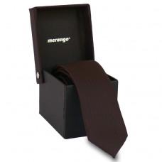 Keskeny, bordó színű nyakkendő díszdobozban