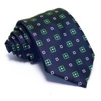 Sötétkék nyakkendő - fehér-zöld mintás