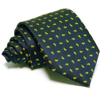 Tengerészkék nyakkendő - citromsárga mintás
