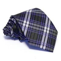 Szürke nyakkendő - fehér-kék csíkos