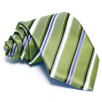 Olajzöld nyakkendő - fehér-kék csíkos