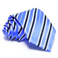 Tengerkék nyakkendő - sötétkék-fehér csíkos
