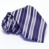 Lila-ezüst színű csíkos nyakkendő