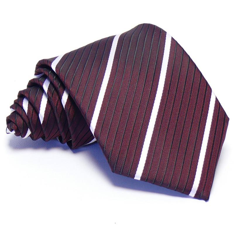2092434646 Burgundi vörös nyakkendő - fehér-fekete csíkos