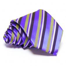 Lila nyakkendő - kék-citromsárga csíkos