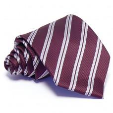 Burgundi vörös nyakkendő - fehér csíkos