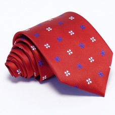 Piros nyakkendő - fehér-kék mintás