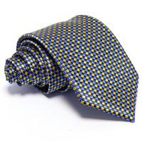 Kék nyakkendő - arany kockás