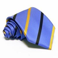 Tengerkék nyakkendő - sötétkék-arany csíkos