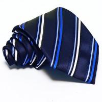 Sötétkék nyakkendő - fehér-kék csíkos