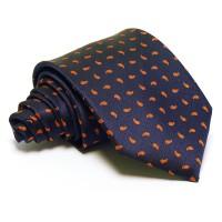 Tengerészkék nyakkendő - narancssárga mintás