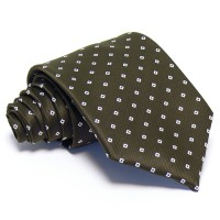 Sötétbarna nyakkendő - fehér mintás