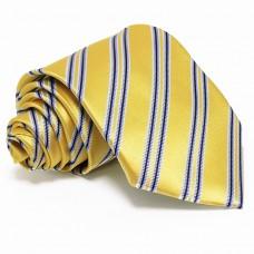 Citromsárga selyem nyakkendő - kék csíkos
