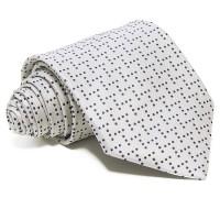 Szürke selyem nyakkendő - kék pöttyös