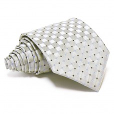 Ezüstszürke selyem nyakkendő - anyagában kockás