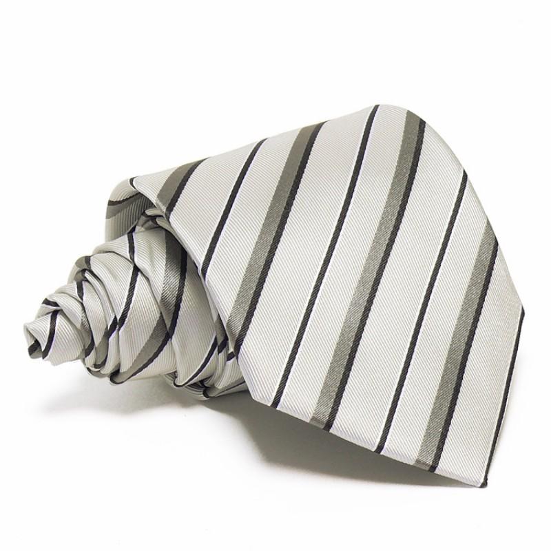 af89bb21fe Szürke selyem nyakkendő - fekete-szürke csíkos