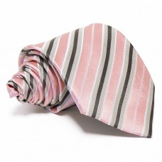 Rózsaszín selyem nyakkendő - szürke-fekete csíkos