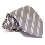 Szürke selyem nyakkendő - rózsaszín csíkos