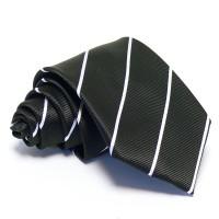 Fekete nyakkendő - vékony fehér csíkos