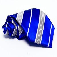 Kobaltkék nyakkendő - fehér-szürke csíkos