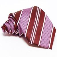 Burgundi vörös, rózsaszín-fehér csíkos nyakkendő