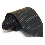 Tengerészkék selyem nyakkendő - narancs mintás
