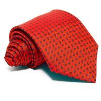 Piros selyem nyakkendő - kék mintás