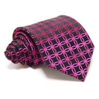 Fekete selyem nyakkendő - magenta mintás