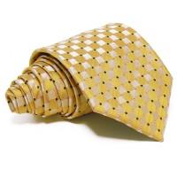 Aranysárga-ezüst selyem nyakkendő - kockás