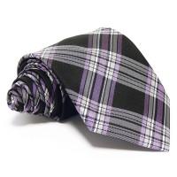 Fekete selyem nyakkendő - fehér-lila csíkos