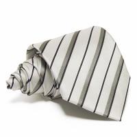 Szürke selyem nyakkendő - fekete-szürke csíkos