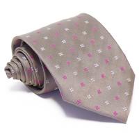 Szürke selyem nyakkendő - fehér-magenta mintás