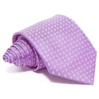 Lila selyem nyakkendő - fehér mintás